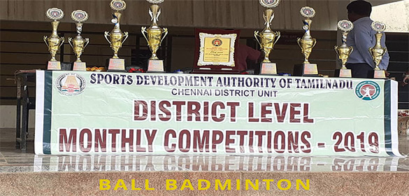 The Chennai District DSO Mr. B. Kandasamy led the monthly Games competition for Ball Badminton 2019.